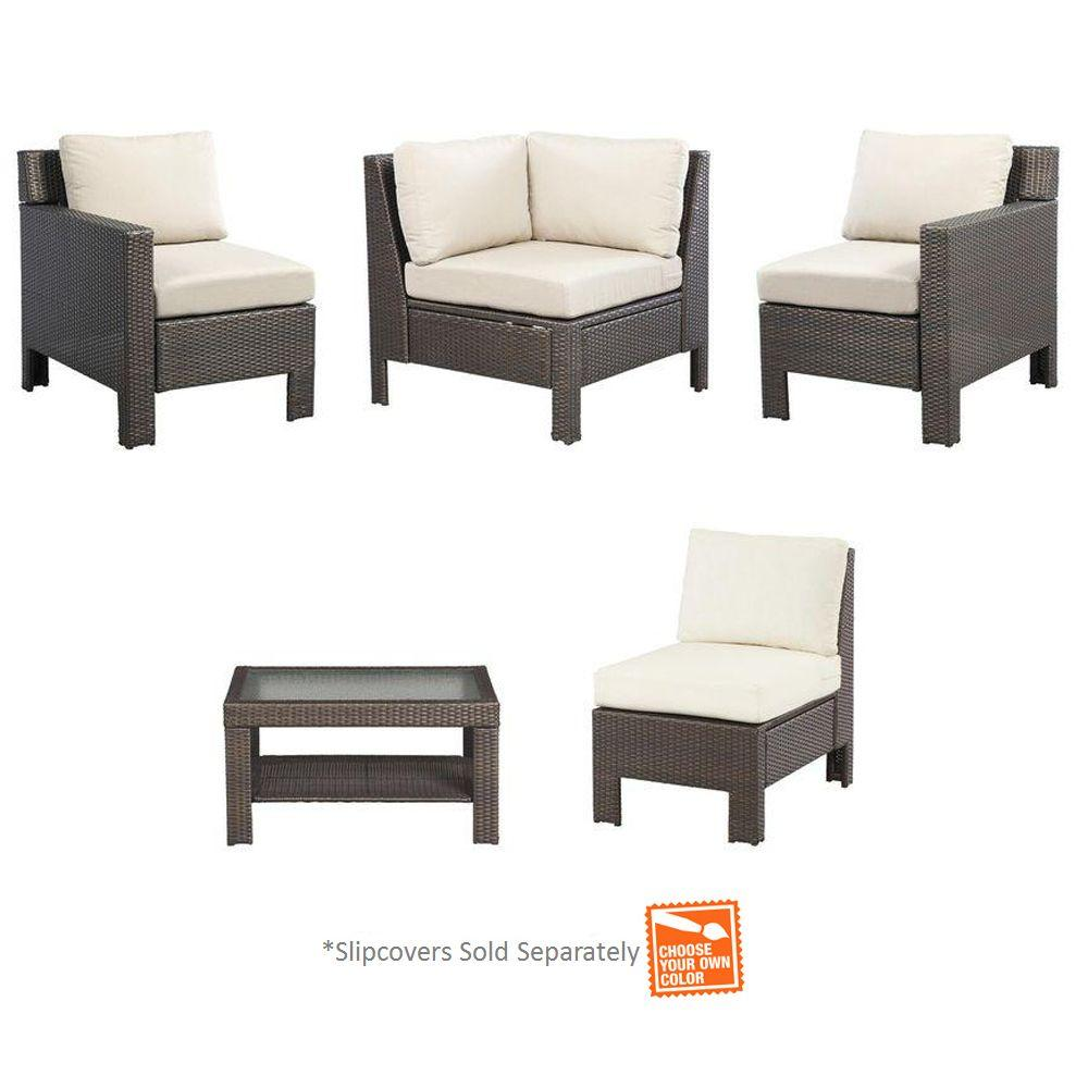 Hampton Bay Beverly 5 Piece Patio Sectional Seating Set With Cushions Insert Slipcovers Sold Separately