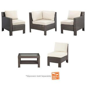 Beverly 5-Piece Patio Sectional Seating Set with Cushions Insert (Slipcovers Sold Separately)