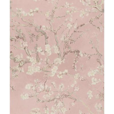 Almond Blossom Bold Floral Wallpaper Blush Pink Paper Strippable Roll (Covers 57 sq. ft.)