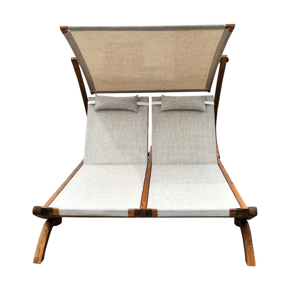 Prime Leisure Season 76 In W X 61 In D X 59 In H Brown Double Reclining Wooden Patio Lounge Chair With Canopy And Beige Cushions Creativecarmelina Interior Chair Design Creativecarmelinacom