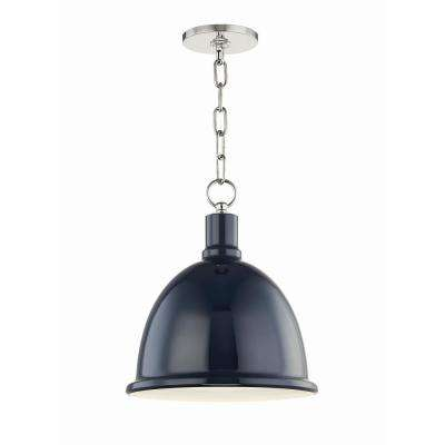 Blair 1-Light 11 in. W Polished Nickel Pendant with Navy Metal Shade