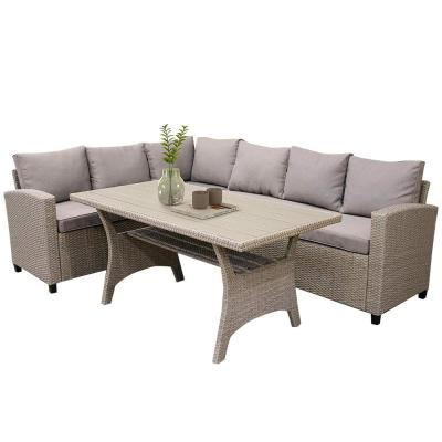 Brown Patio Dining Table Set Outdoor Furniture Wicker Set All-Weather Sectional Sofa Set with Table&Soft Cushions