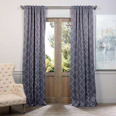 Semi-Opaque Seville Grey and Silver Blackout Curtain - 50 in. W x 84 in. L (Pair)