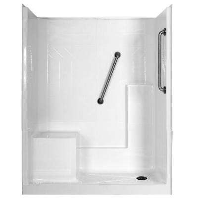 Elizabeth Plus 60 in. x 33 in. x 77 in. 3-Piece Low Threshold Shower Stall in White with Left Seat and Right Drain