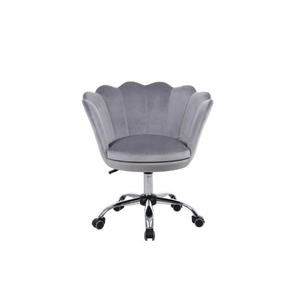 Homefun Gray Velvet Swivel Homeoffice Height Adjustable Task Chair With 360 Castor Wheels Hfhdsn 109sg The Home Depot