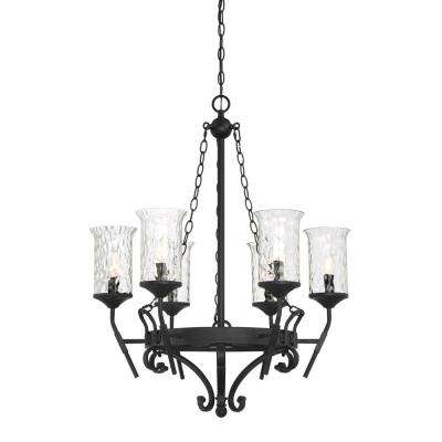 Amilla 6-Light Natural Iron Chandelier with Clear Hammered Glass Shade