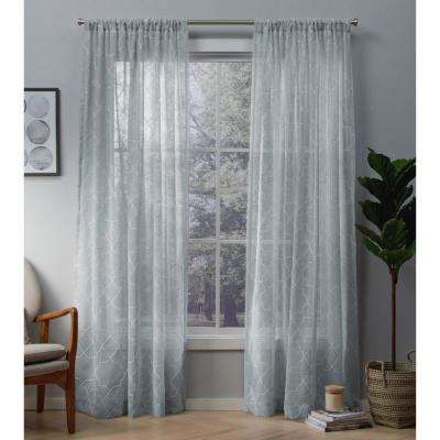 Cali Melrose Blue Embroidered Sheer Rod Pocket Top Window Curtain
