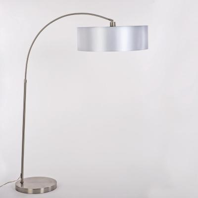 Portable Lamps Series 65 in. Satin Steel Floor Lamp with Pristine White Fabric Shade