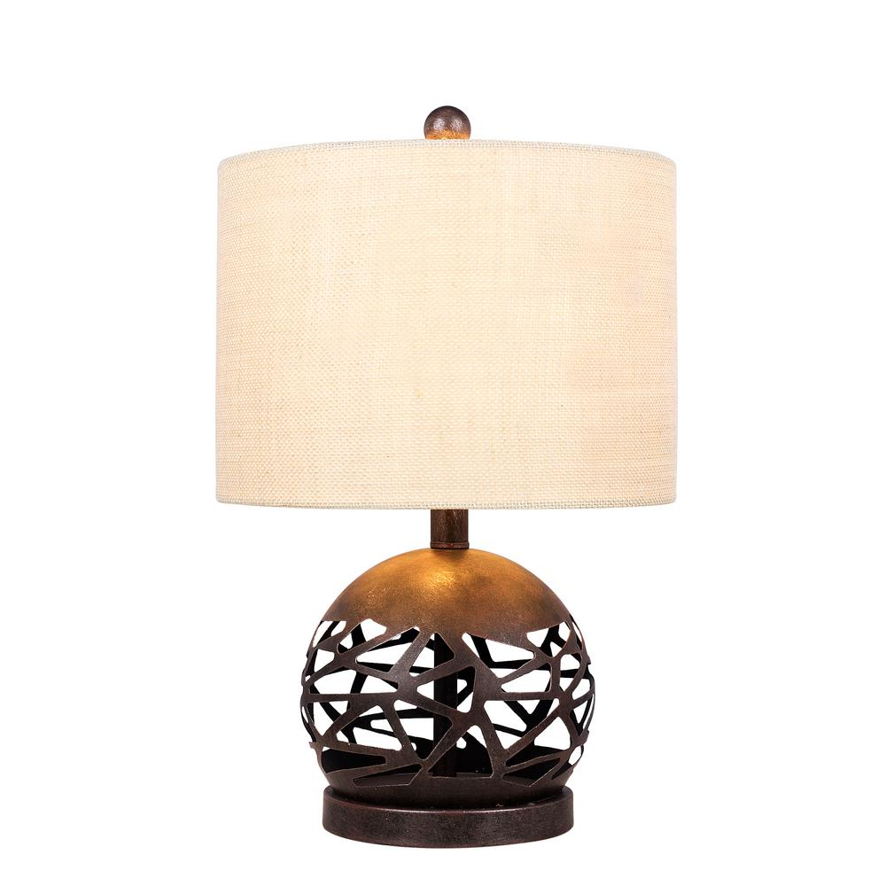 Fangio lighting 195 in brown rustic cage cut metal table lamp w brown rustic cage cut metal table lamp aloadofball Image collections