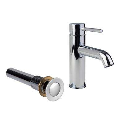 Single Hole 1-Handle Low-Arc Bathroom Faucet in with Drain in Chrome