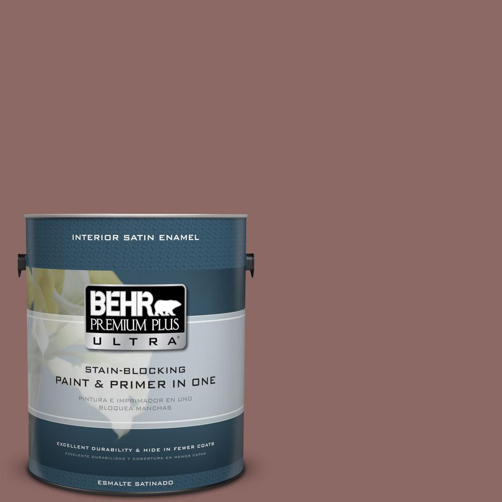 1 gal. #700B-5 Red Stone Satin Enamel Interior Paint and Primer