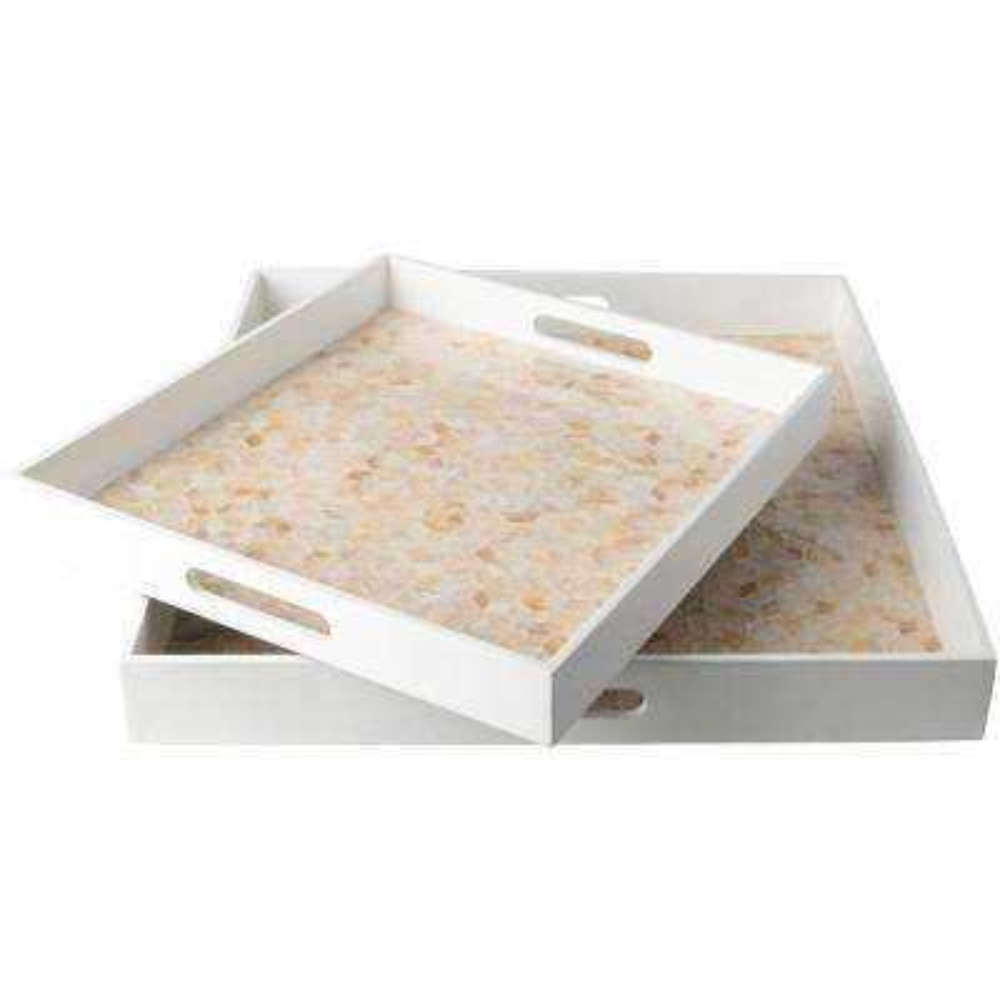 Utone White 2-Piece Decorative Tray Set