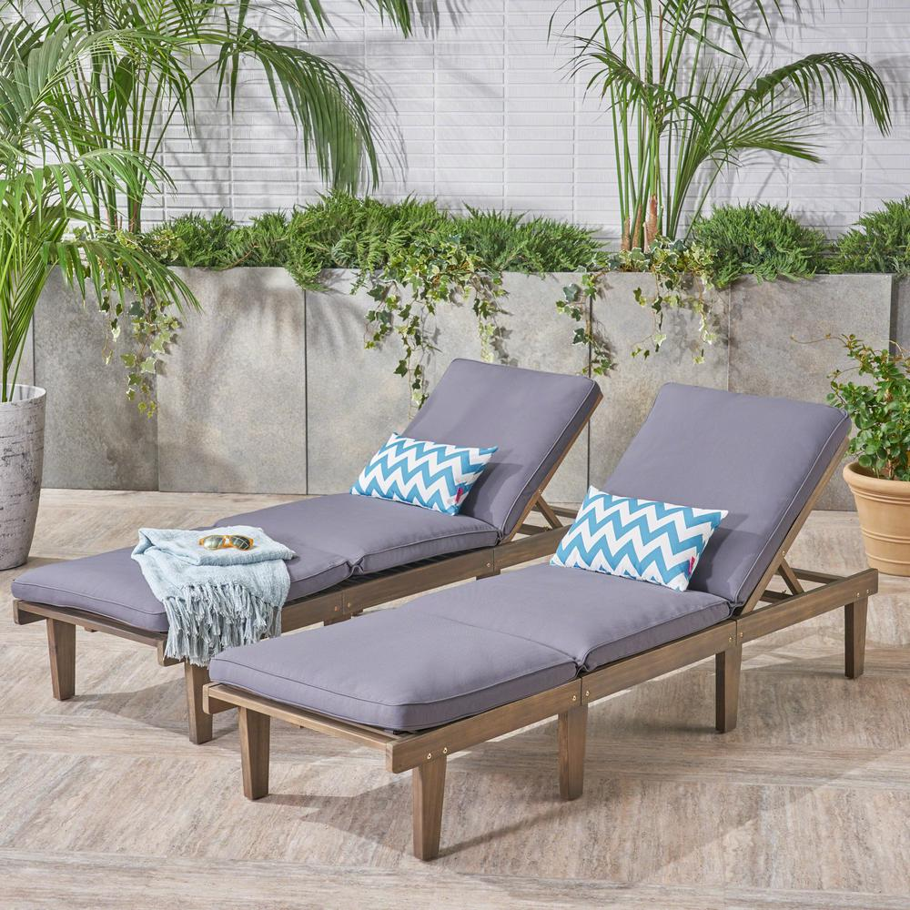Noble House Wyatt Grey 2-Piece Wood Outdoor Chaise Lounge with Dark Grey Cushions