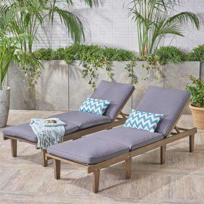 Wyatt Grey 2-Piece Wood Outdoor Chaise Lounge with Dark Grey Cushions