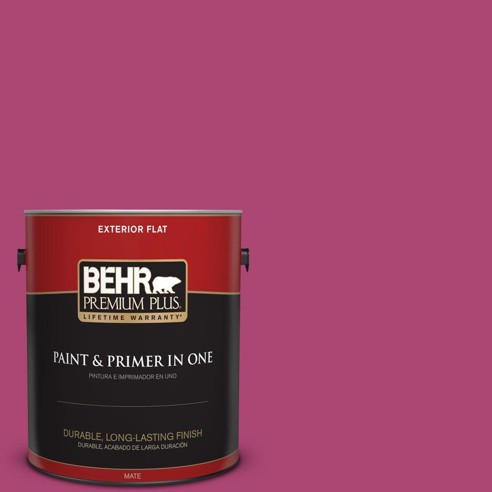 BEHR Premium Plus 1 gal. #100B-7 Hot Pink Flat Exterior Paint and ...