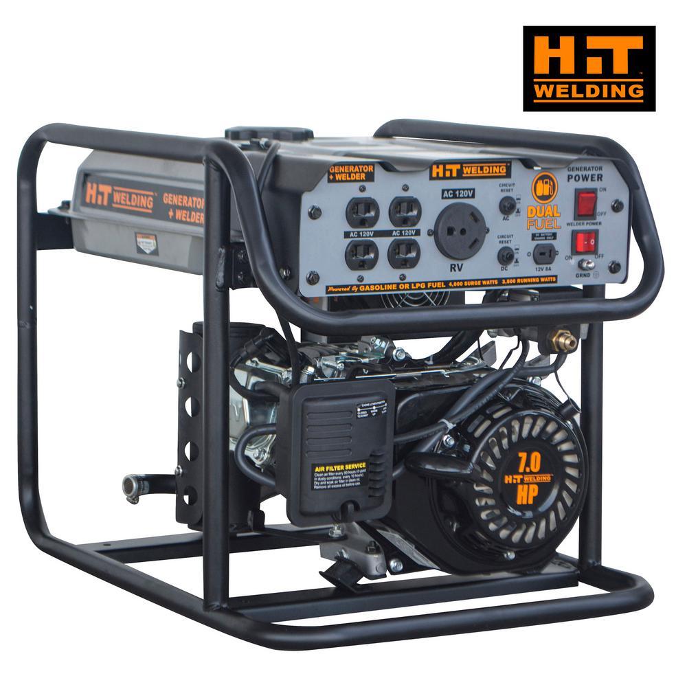 4,000/3,500-Watt Dual Fuel Powered Portable Generator with Stick Welder (TIG Ready)