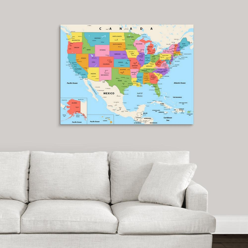 Modern Us Map.Greatbigcanvas Us Map Color Modern Text By Inner Circle Canvas