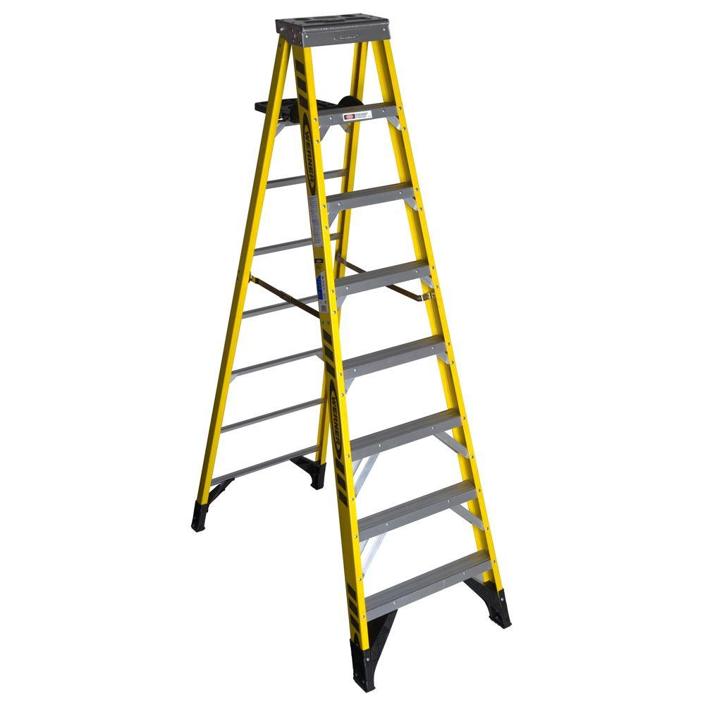 Werner 8 ft. Fiberglass Step Ladder with 375 lb. Load Capacity Type IAA Duty Rating