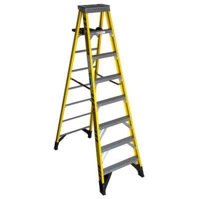 8 ft. Fiberglass Step Ladder with Shelf 375 lb. Load Capacity Type IAA Duty Rating