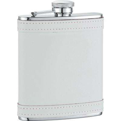 Cloud X White Leather with stitch Liquor Flask