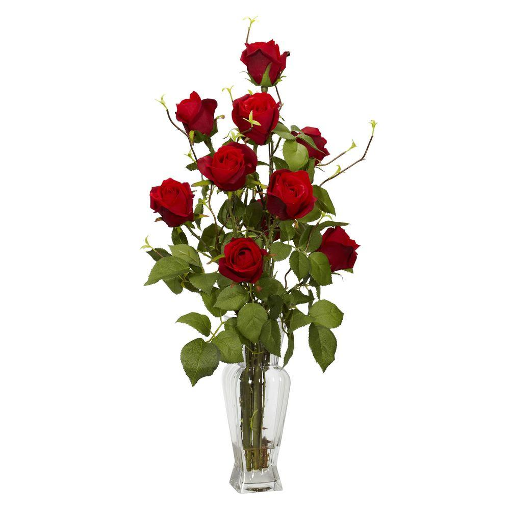 Nearly Natural 28 in. H Red Rosebud Silk Flower Arrangement Nearly Natural 28 in. H Red Rosebud Silk Flower Arrangement