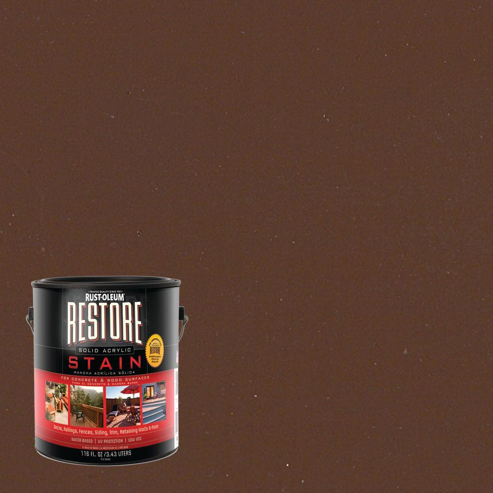Rust-Oleum Restore 1 gal. Solid Acrylic Water Based Chocolate Exterior Stain