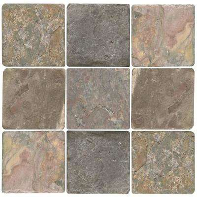 Pietra Art Slate Peacock 4 in. x 4 in. Porcelain Floor and Wall Tile (5.38 sq. ft. / case)