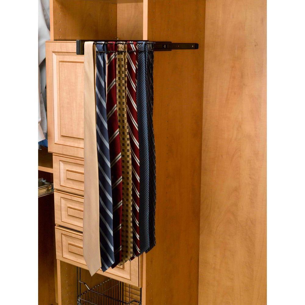 2.42 in. H x 2.42 in. W x 12 in. D Oil Rubbed Bronze Pull-Out Side Mount 7-Hook Tie Rack