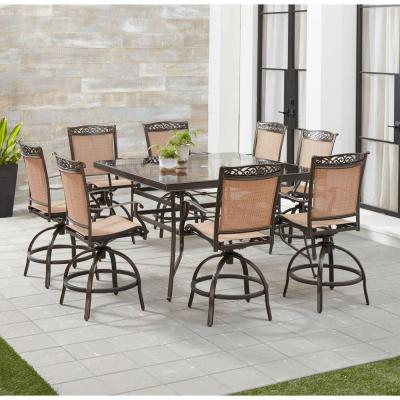 Fontana 9-Piece Aluminum Outdoor Dining Set with 8 Sling Swivel Chairs and a 60 in. Square Glass-Top Table