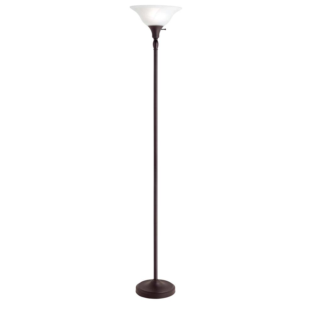 Bronze Torchiere Floor Lamp With Alabaster Glass Shade