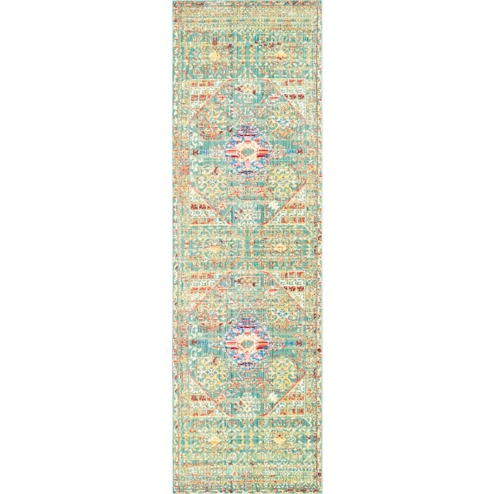 Nuloom Crandall Turquoise 7 Ft 10 In X 9 Ft 6 In Area: NuLOOM Traditional Vintage Inspired Overdyed Floral Runner