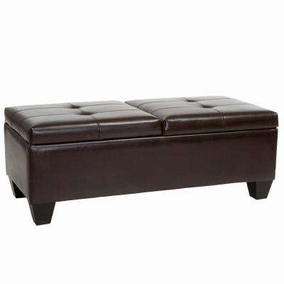 Merrill Chocolate Brown Double Opening Storage Ottoman