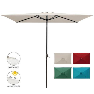 10 ft. x 6.5 ft. Rectangular Market Outdoor Patio Umbrella Table with Push Button Tilt and Crank in Beige