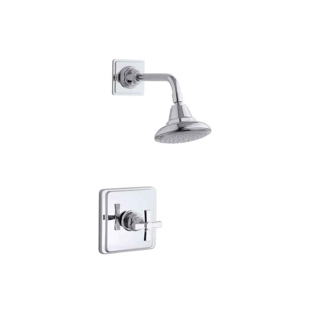Pinstripe 1-Spray 6.6875 in. 2.5 GPM Fixed Shower Head in Polished
