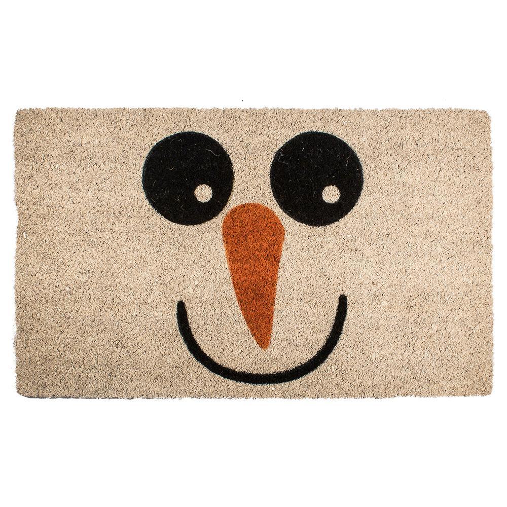 Snowman 17 in. x 28 in. Non-Slip Coir Door Mat