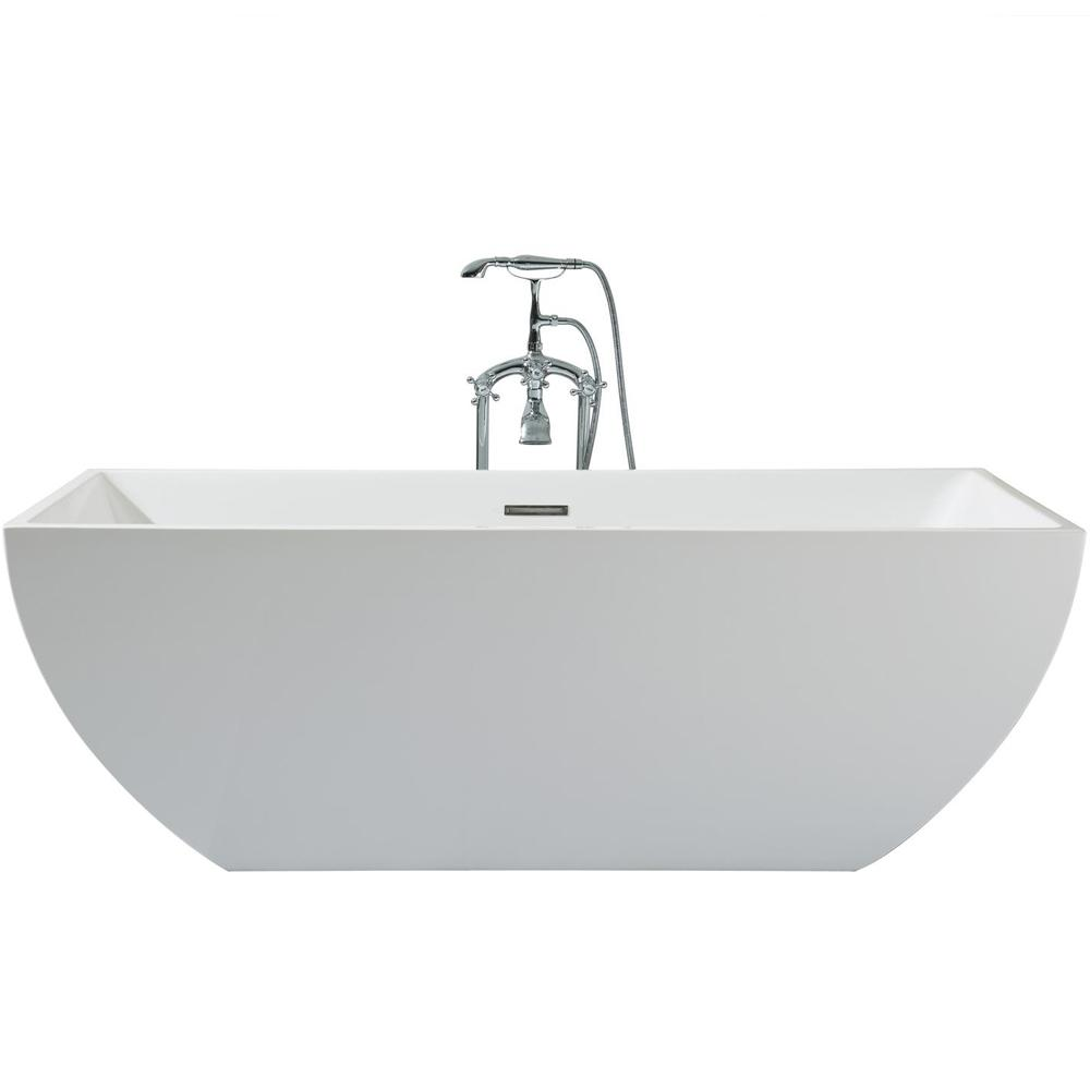 67 in. Acrylic Center Drain Rectangle Flat Bottom Freestanding Bathtub in