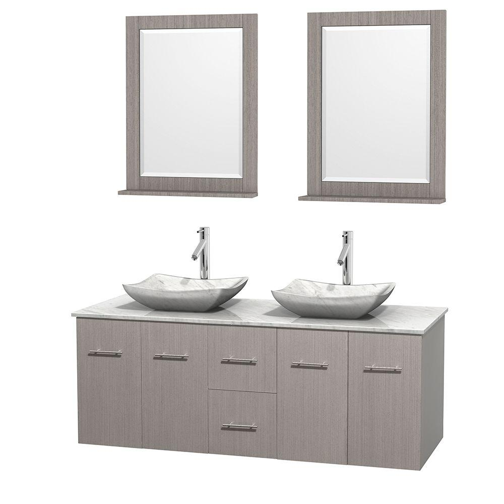 Wyndham Collection Centra 60 in. Double Vanity in Gray Oak with Marble Vanity Top in Carrara White, Marble Sinks and 24 in. Mirror
