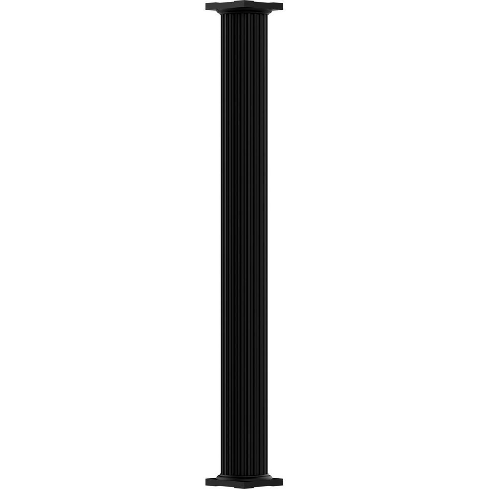 6 in. x 8 ft. Textured Black Non-Tapered Fluted Round Shaft
