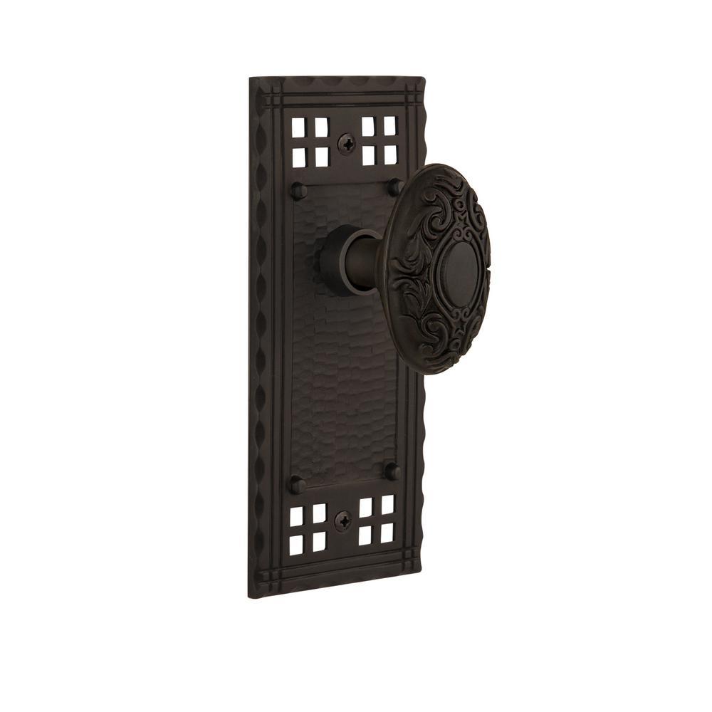 Craftsman Plate 2-3/8 in. Backset Oil-Rubbed Bronze Privacy Bed/Bath Victorian Door Knob