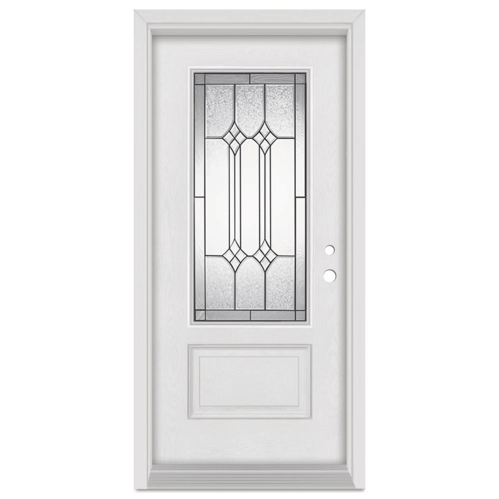 Stanley Doors 36 in. x 80 in. Orleans Left-Hand Patina Finished Fiberglass Mahogany Woodgrain Prehung Front Door Brickmould
