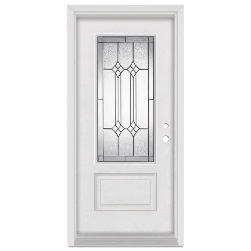 36 in. x 80 in. Orleans Left-Hand Patina Finished Fiberglass Mahogany Woodgrain Prehung Front Door
