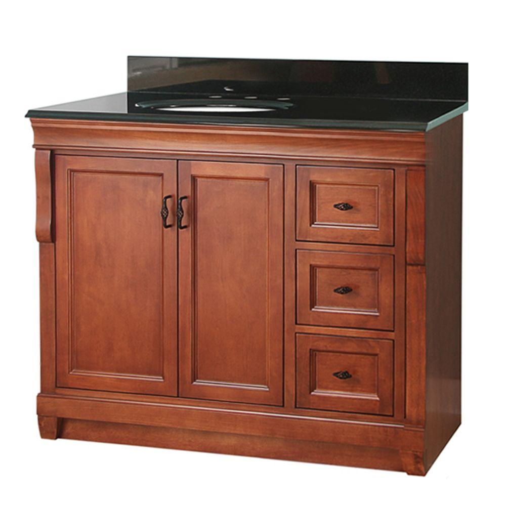 Foremost Naples 37 In W X 22 In D Vanity In Warm Cinnamon With Granite Vanity Top In Black