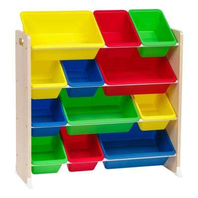 Primary 4-Tier Multi-Colored Toy Storage Bin Rack