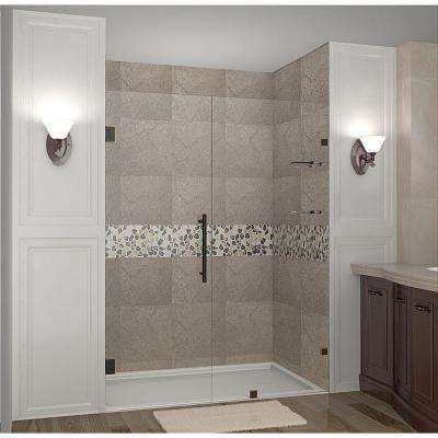 Nautis GS 53 in. x 72 in. Completely Frameless Hinged Shower Door with Glass Shelves in Oil Rubbed Bronze