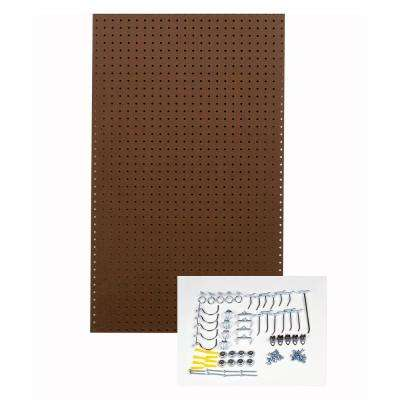 24 in. H x 42 in. W Pegboard 1-Pack Brown Tempered Wood Pegboard Kit with 36 Hooks