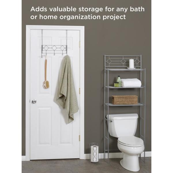 Zenna Home 3 Piece Bath Storage Set With Over The Toilet Space Saver Over The Door Rack And Toilet Paper Holder In Satin Nickel Bbn75 The Home Depot