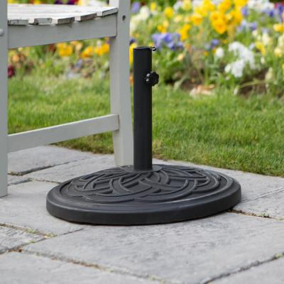 Circle Weave Round Outdoor Patio Umbrella Base - Black