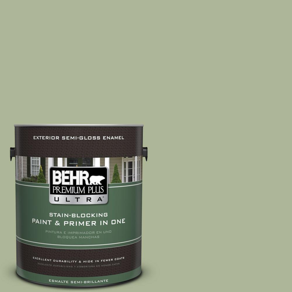 BEHR Premium Plus Ultra 1-gal. #PPU11-8 Moss Print Semi-Gloss Enamel Exterior Paint