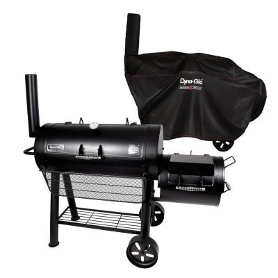 Signature Heavy-Duty Barrel Charcoal Grill and Offset Smoker in Black with Cover