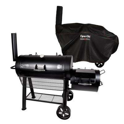 Signature Series Heavy Duty Barrel Charcoal Grill and Offset Smoker in Black with Cover